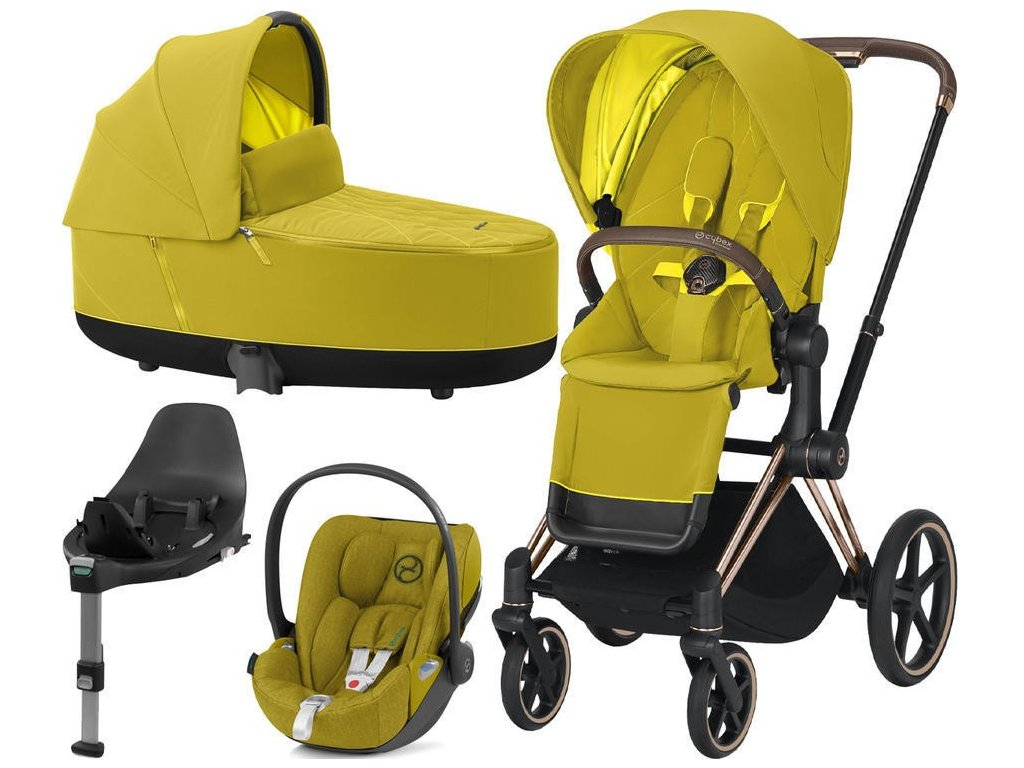 Kočárek CYBEX Set Priam Rosegold Seat Pack 2021 Lux Carry Cot včetně Cloud Z i-Size a base Z - Mustard Yellow