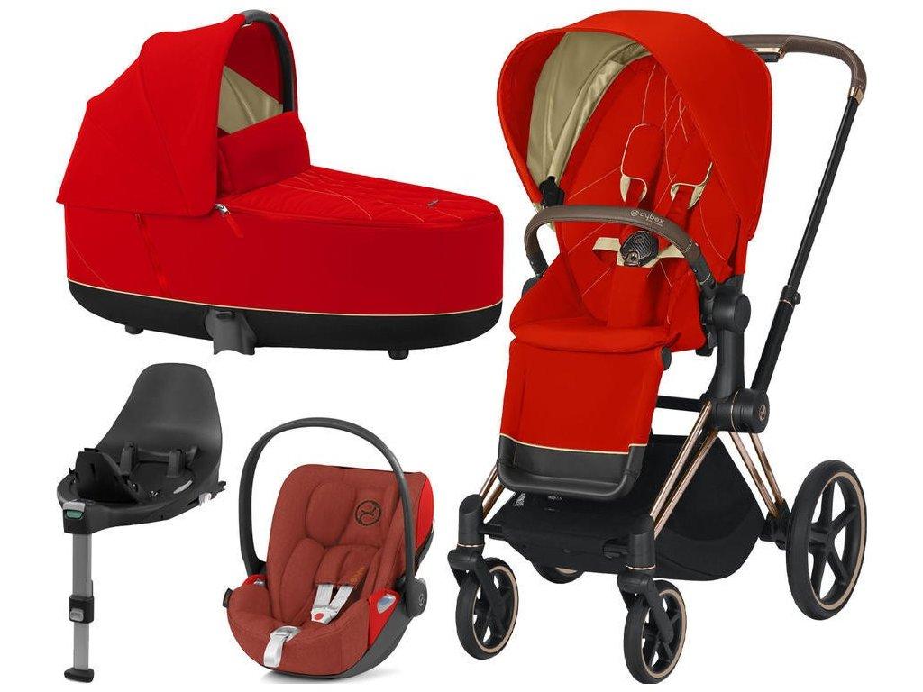 Kočárek CYBEX Set Priam Rosegold Seat Pack 2021 Lux Carry Cot včetně Cloud Z i-Size a base Z - Autumn Gold