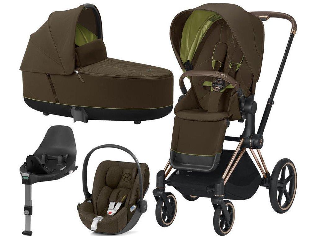Kočárek CYBEX Set Priam Rosegold Seat Pack 2021 Lux Carry Cot včetně Cloud Z i-Size a base Z - Khaki Green