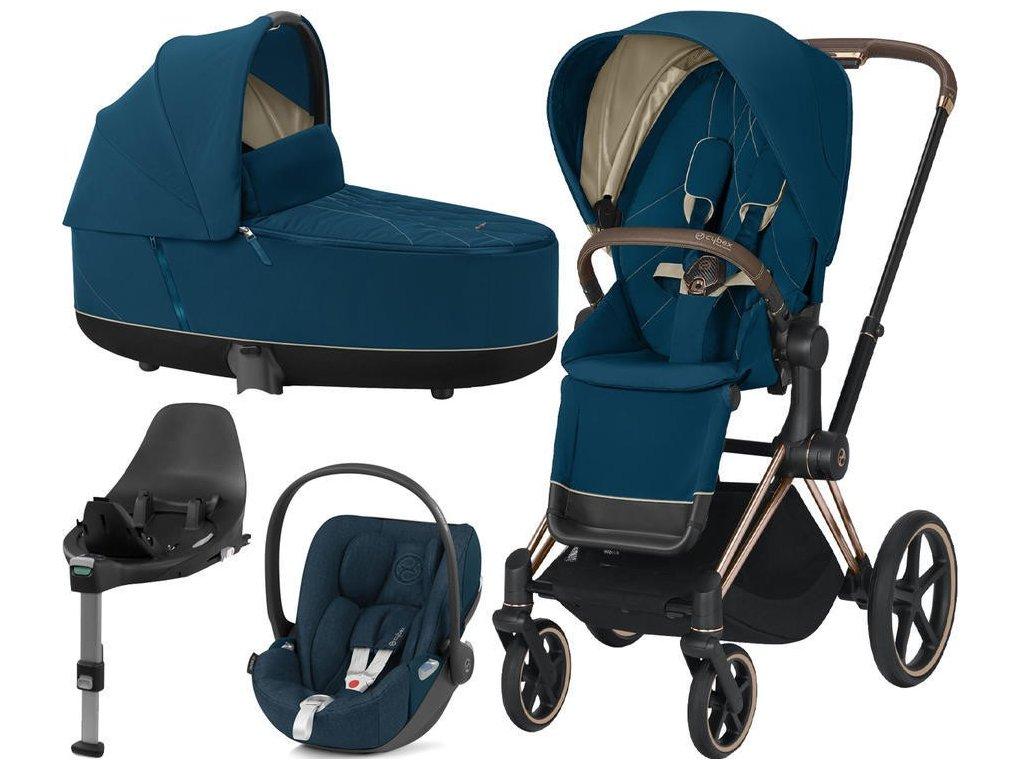 Kočárek CYBEX Set Priam Rosegold Seat Pack 2021 Lux Carry Cot včetně Cloud Z i-Size a base Z - Mountain Blue