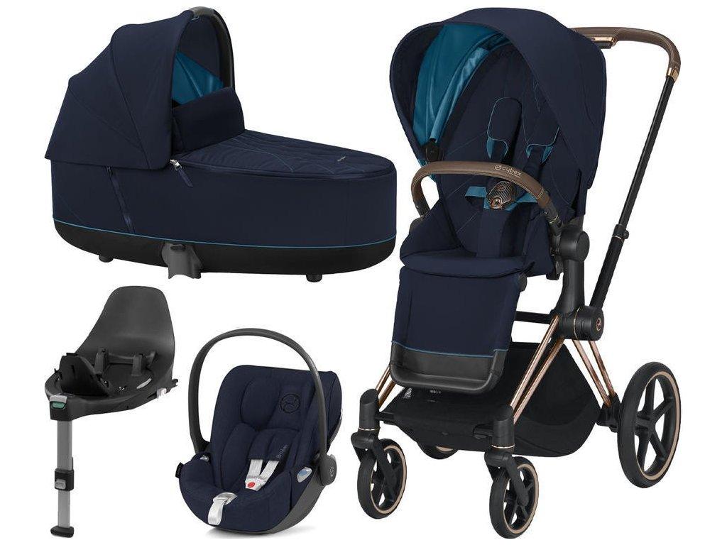 Kočárek CYBEX Set Priam Rosegold Seat Pack 2021 Lux Carry Cot včetně Cloud Z i-Size a base Z - Nautical Blue