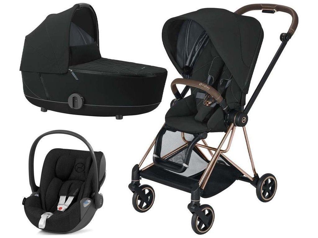 Kočárek CYBEX Set Mios Rosegold Seat Pack 2021 včetně Cloud Z i-Size - Deep Black
