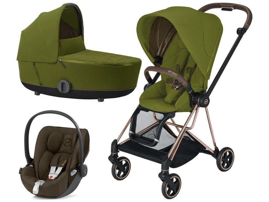 Kočárek CYBEX Set Mios Rosegold Seat Pack 2021 včetně Cloud Z i-Size - Khaki Green