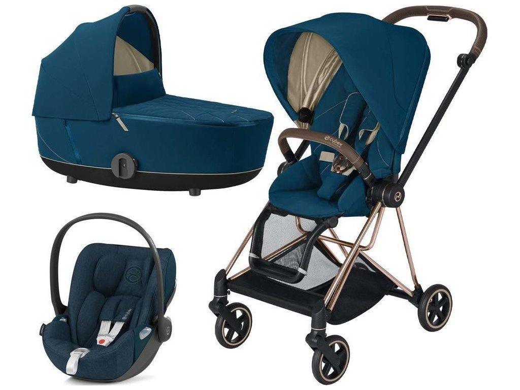 Kočárek CYBEX Set Mios Rosegold Seat Pack 2021 včetně Cloud Z i-Size - Mountain Blue