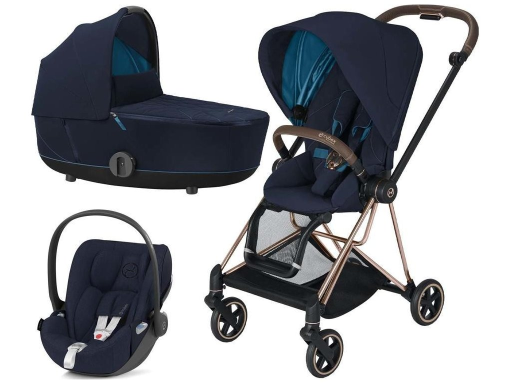Kočárek CYBEX Set Mios Rosegold Seat Pack 2021 včetně Cloud Z i-Size - Nautical Blue