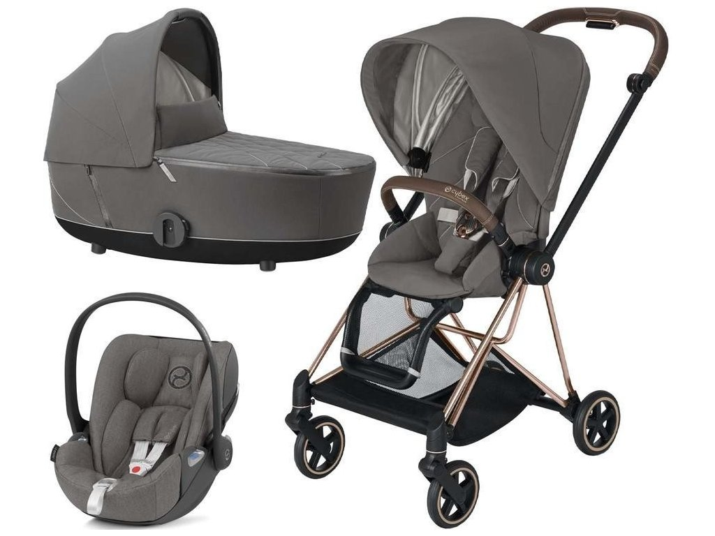 Kočárek CYBEX Set Mios Rosegold Seat Pack 2021 včetně Cloud Z i-Size - Soho Grey