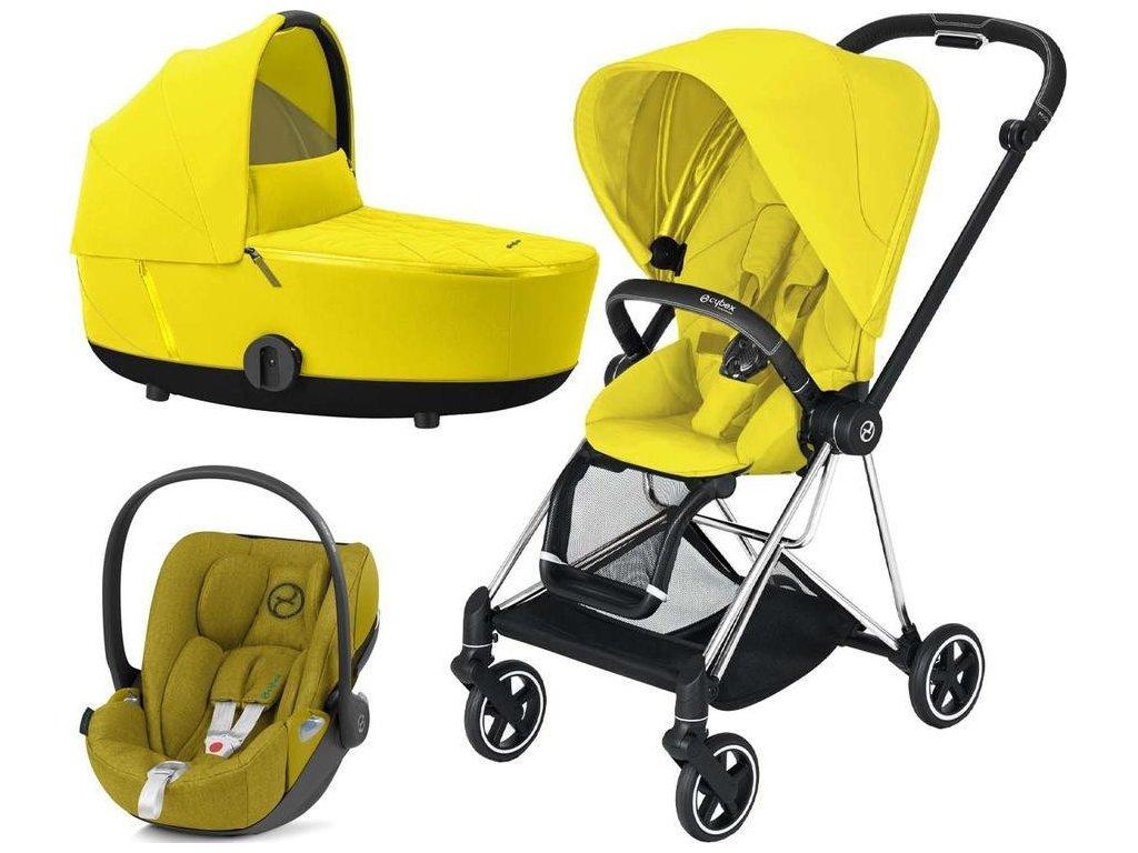 Kočárek CYBEX Set Mios Chrome Black Seat Pack 2021 včetně Cloud Z i-Size - Mustard Yellow