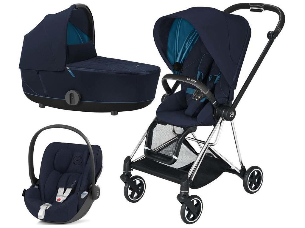 Kočárek CYBEX Set Mios Chrome Black Seat Pack 2021 včetně Cloud Z i-Size - Nautical Blue