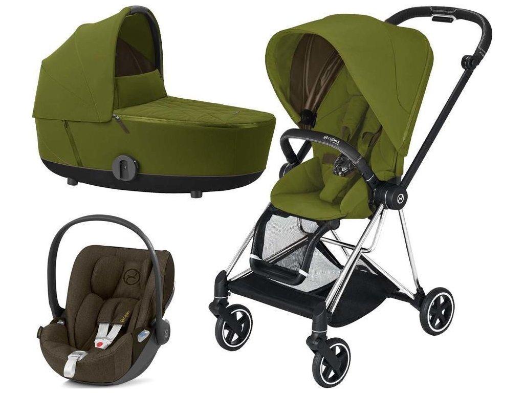 Kočárek CYBEX Set Mios Chrome Black Seat Pack 2021 včetně Cloud Z i-Size - Khaki Green