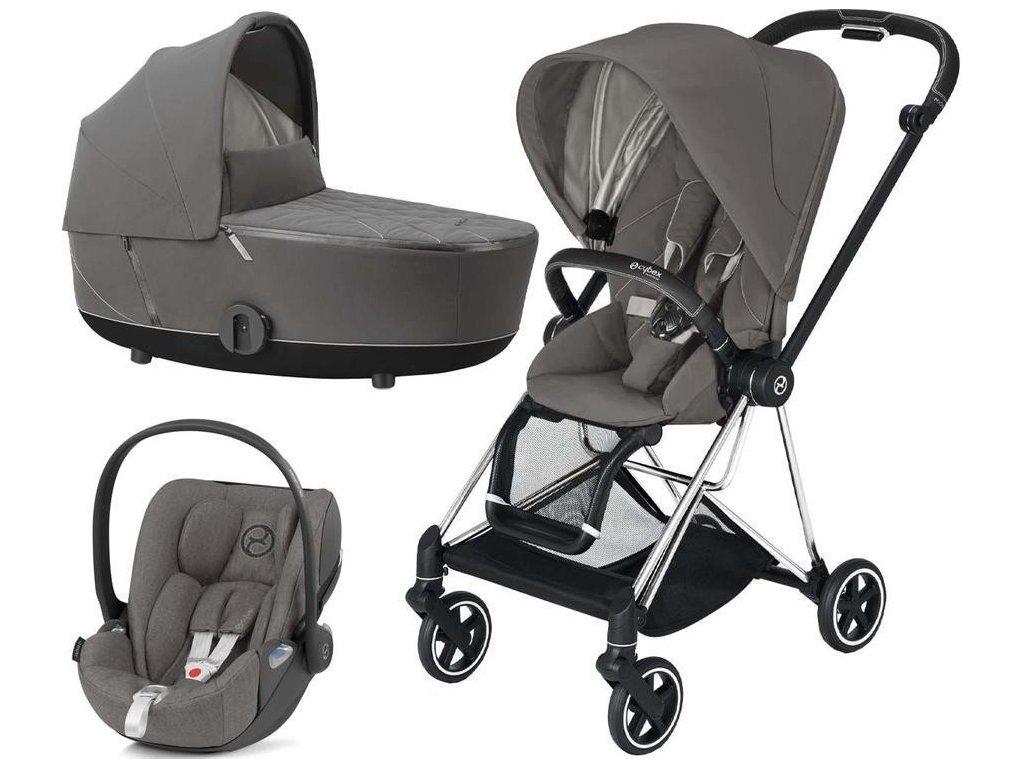 Kočárek CYBEX Set Mios Chrome Black Seat Pack 2021 včetně Cloud Z i-Size - Soho Grey