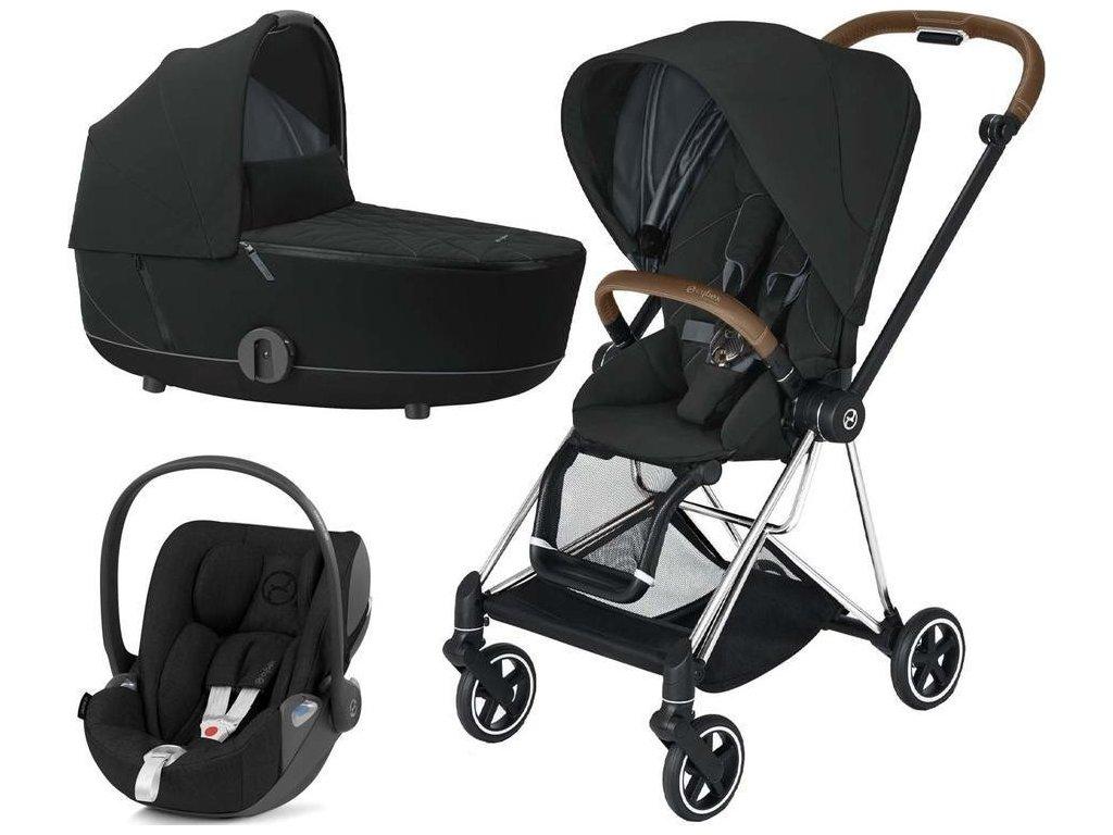 Kočárek CYBEX Set Mios Chrome Brown Seat Pack 2021 včetně Cloud Z i-Size - Deep Black