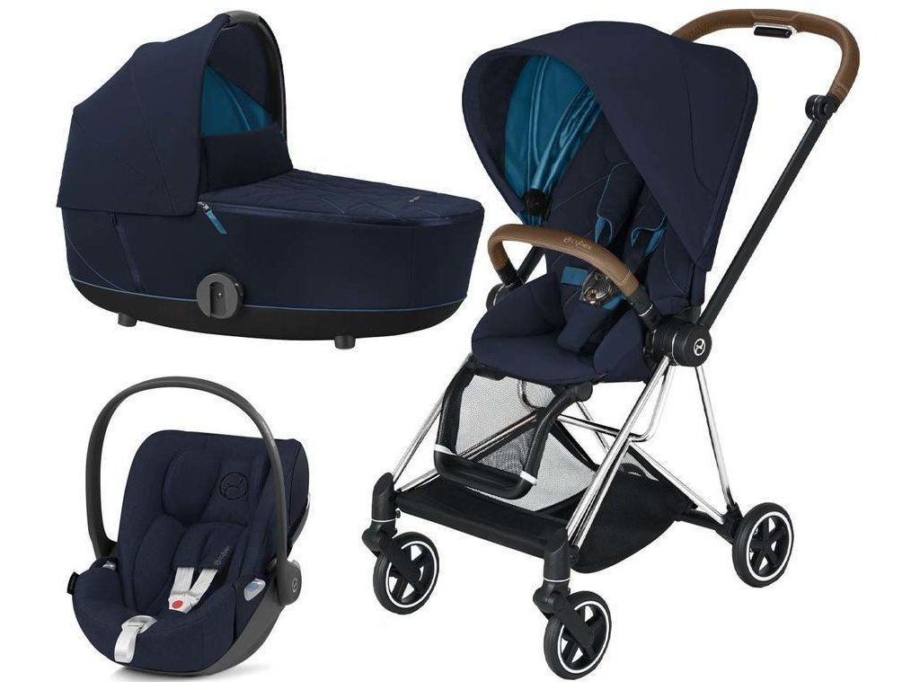 Kočárek CYBEX Set Mios Chrome Brown Seat Pack 2021 včetně Cloud Z i-Size - Nautical Blue