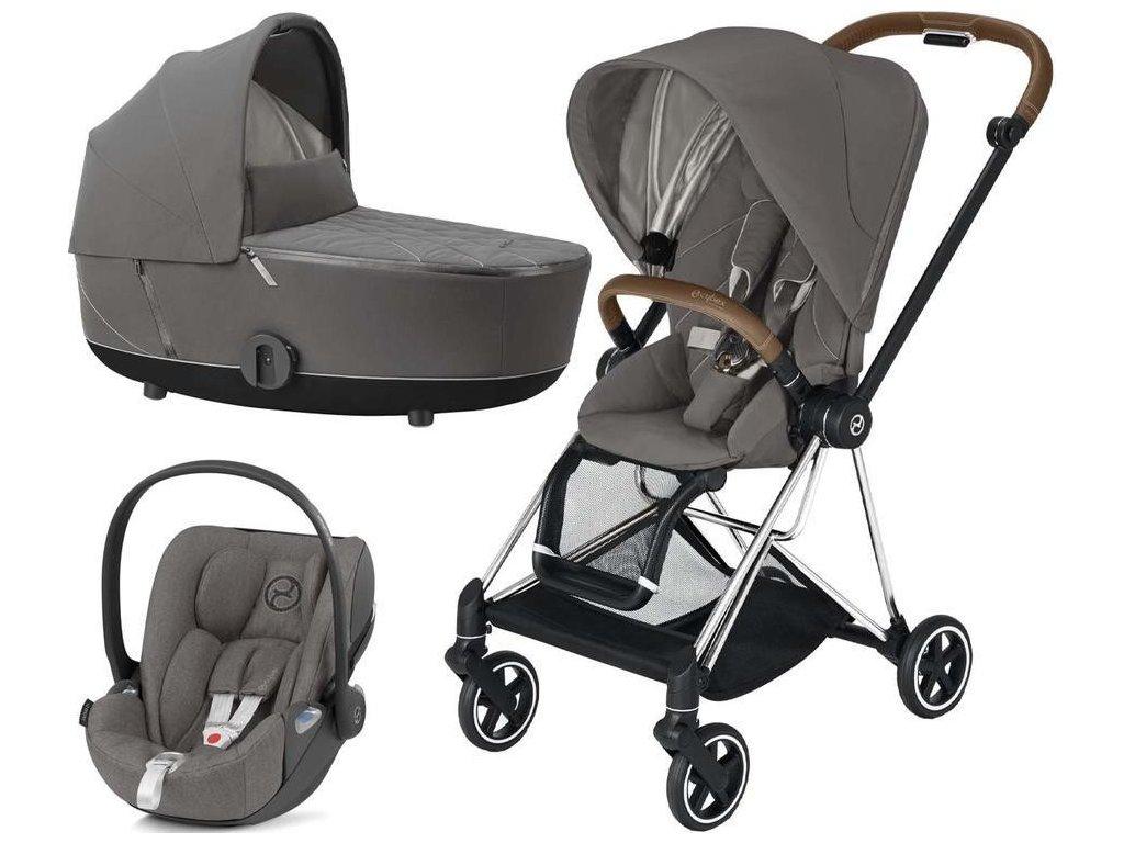 Kočárek CYBEX Set Mios Chrome Brown Seat Pack 2021 včetně Cloud Z i-Size - Soho Grey