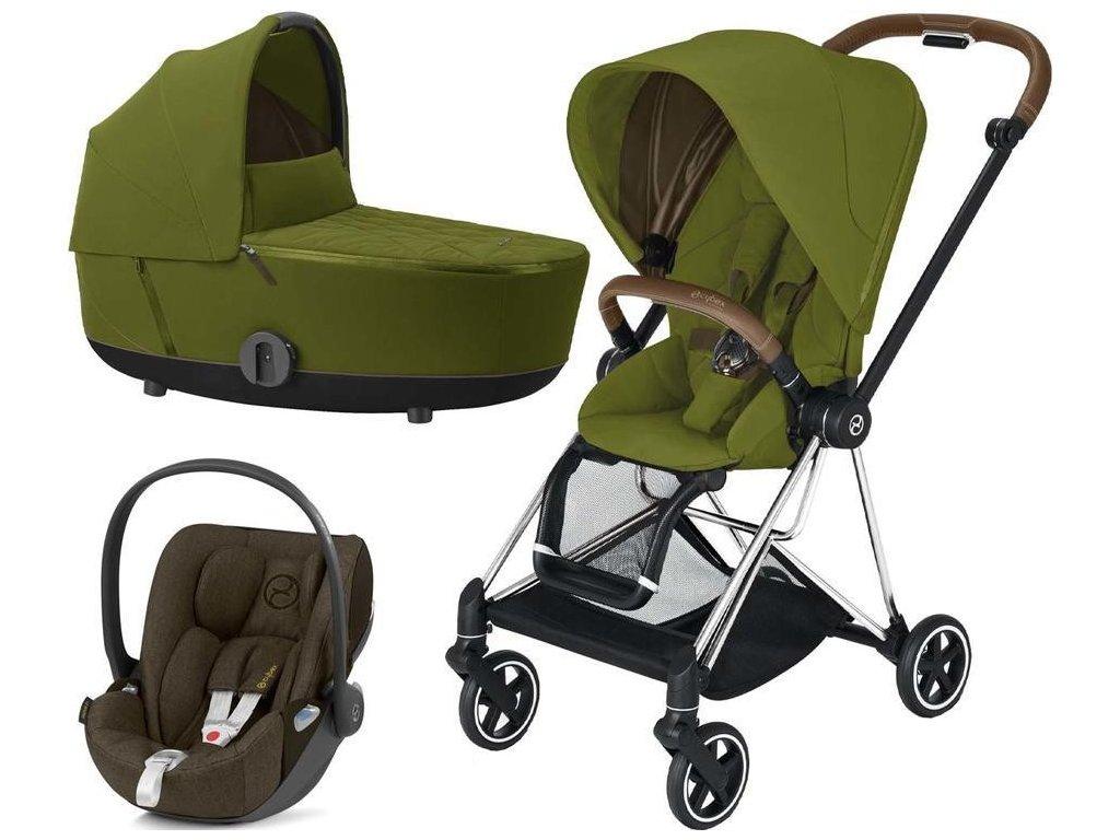 Kočárek CYBEX Set Mios Chrome Brown Seat Pack 2021 včetně Cloud Z i-Size - Khaki Green
