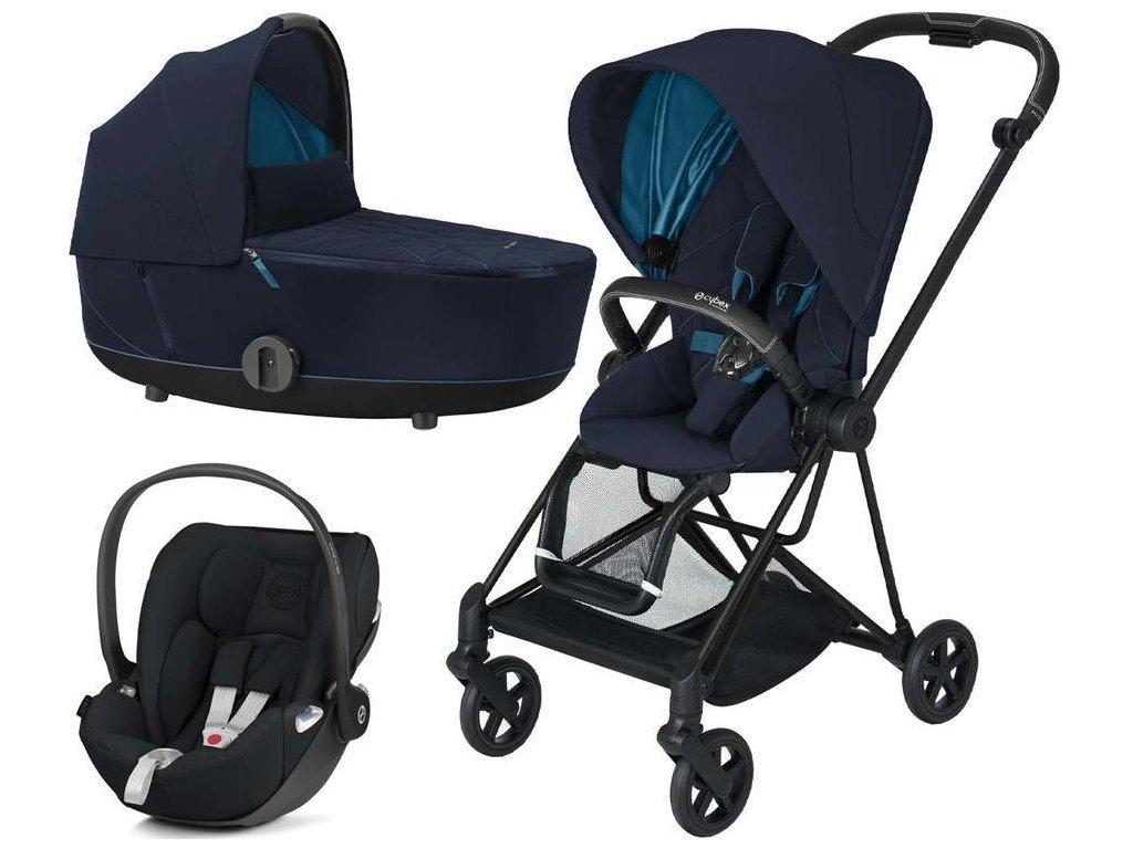 Kočárek CYBEX Set Mios Matt Black Seat Pack 2021 včetně Cloud Z i-Size - Nautical Blue