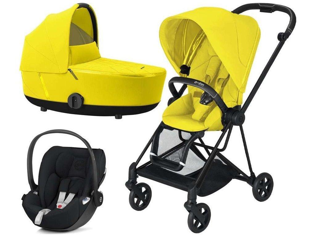 Kočárek CYBEX Set Mios Matt Black Seat Pack 2021 včetně Cloud Z i-Size - Mustard Yellow