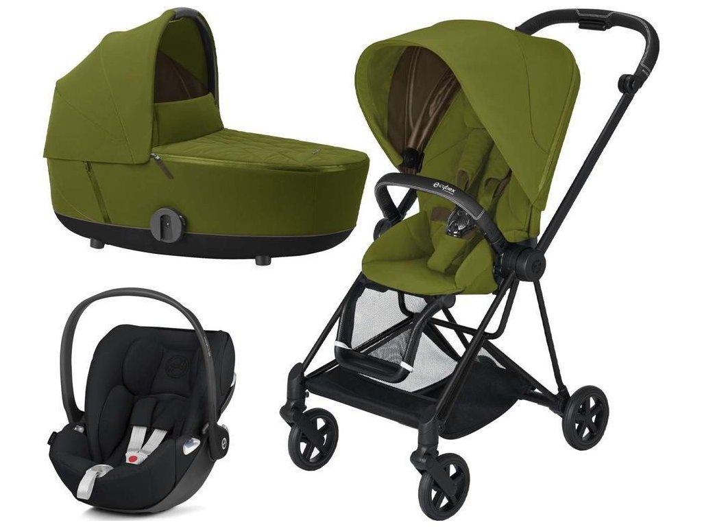 Kočárek CYBEX Set Mios Matt Black Seat Pack 2021 včetně Cloud Z i-Size - Khaki Green