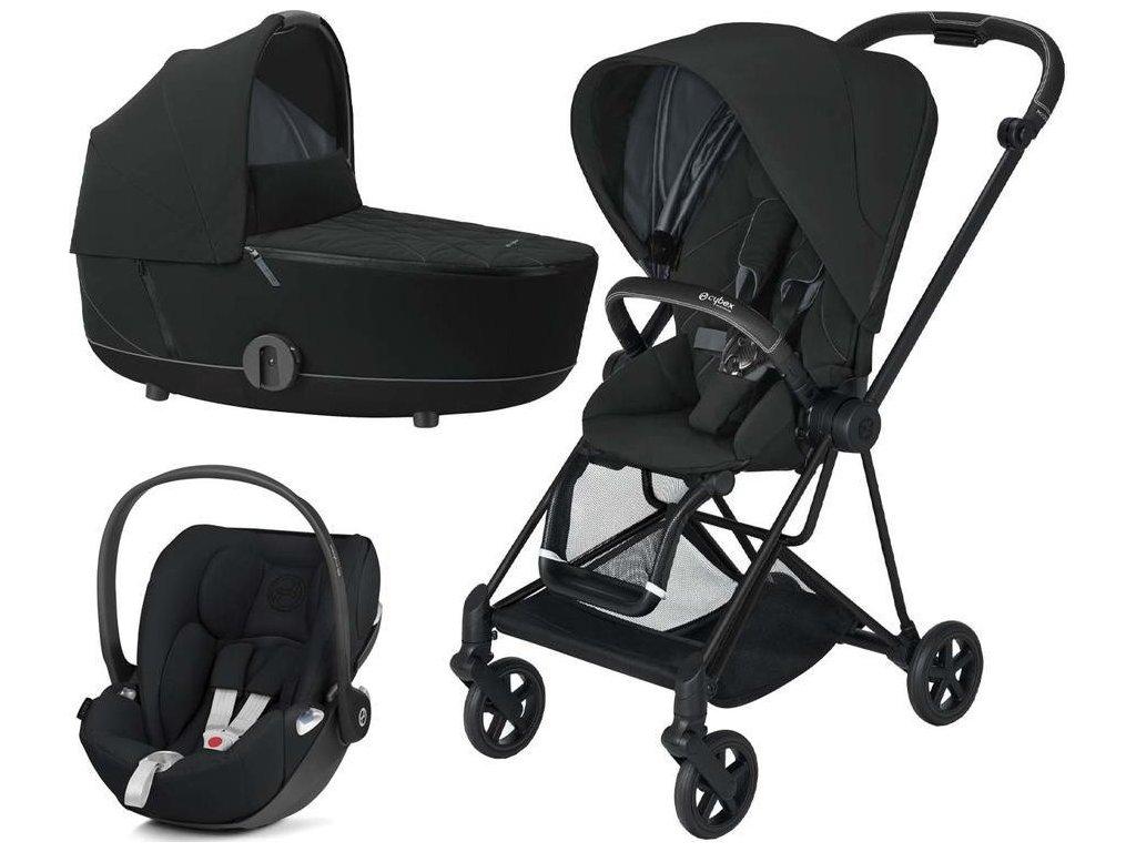 Kočárek CYBEX Set Mios Matt Black Seat Pack 2021 včetně Cloud Z i-Size - Deep Black