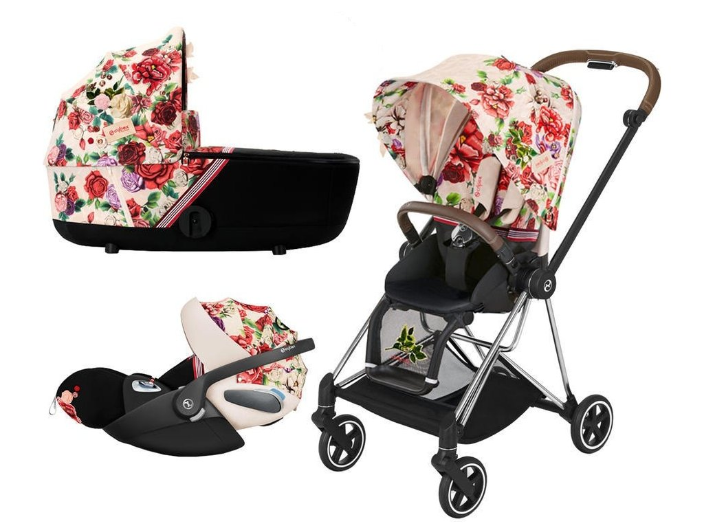 Kočárek CYBEX Set Mios Seat Pack Fashion Spring Blossom 2021 včetně autosedačky, podvozek Mios Chrome - Light