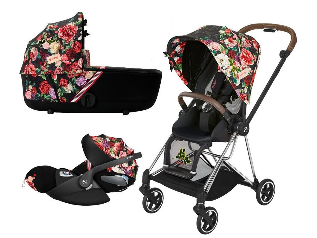 Kočárek CYBEX Set Mios Seat Pack Fashion Spring Blossom 2021 včetně autosedačky, podvozek Mios Chrome - Dark