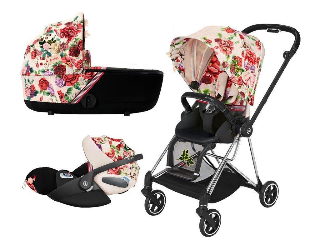 Kočárek CYBEX Set Mios Seat Pack Fashion Spring Blossom 2021 včetně autosedačky, podvozek Mios Chrome Black - Light