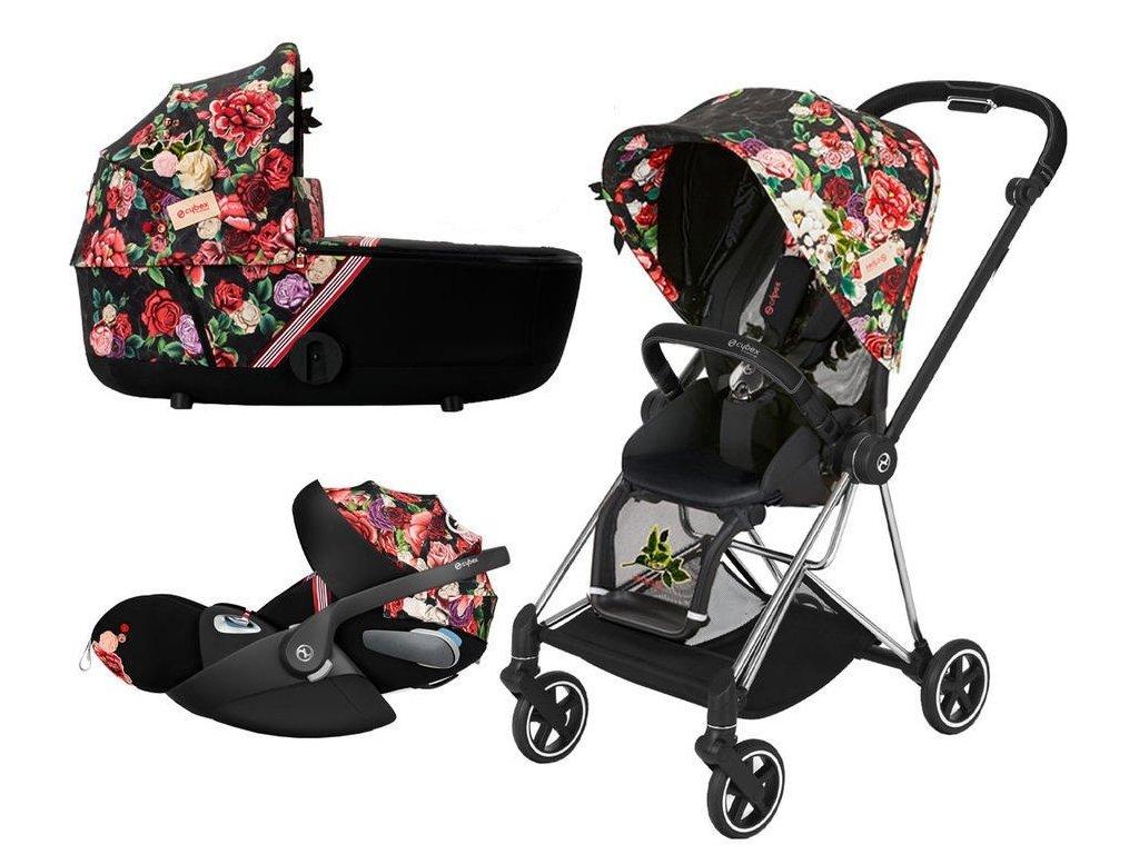 Kočárek CYBEX Set Mios Seat Pack Fashion Spring Blossom 2021 včetně autosedačky, podvozek Mios Chrome Black - Dark