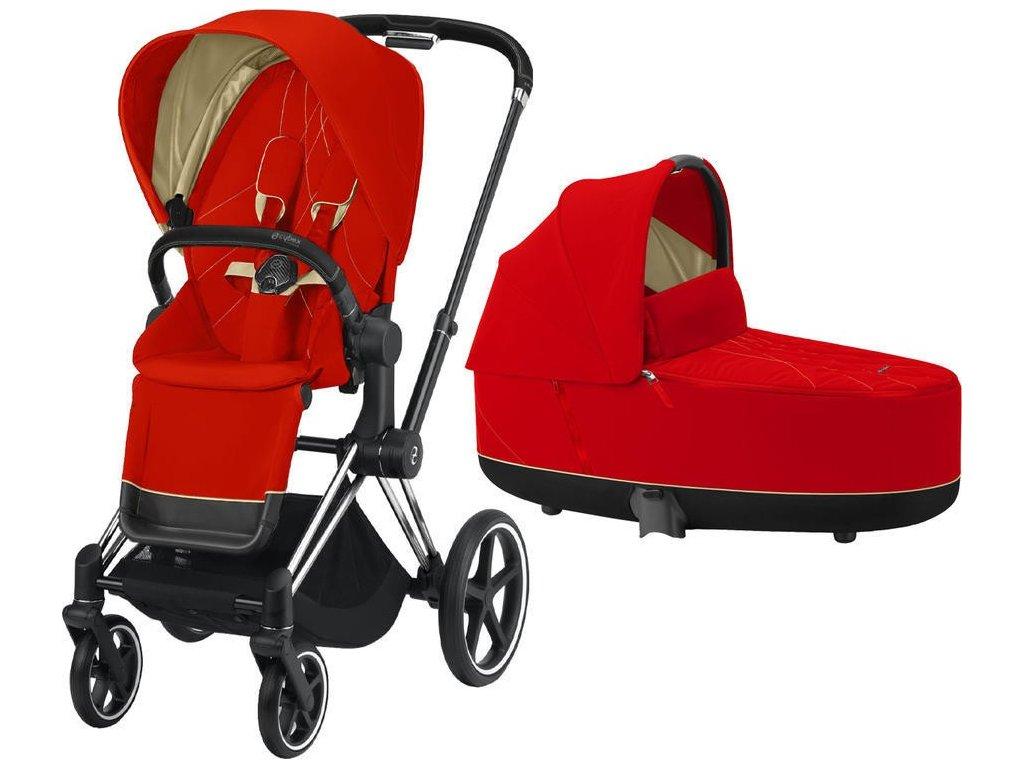 Kočárek CYBEX Priam Chrome Black Seat Pack 2021 včetně korby - Autumn Gold