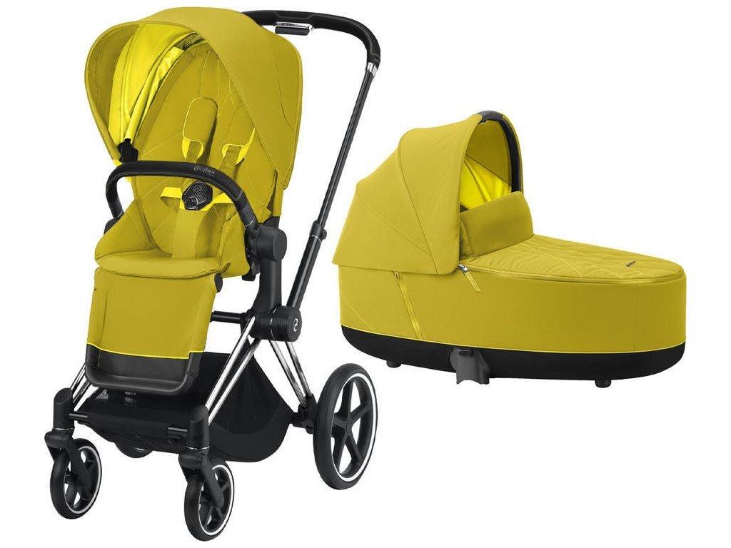 Kočárek CYBEX Priam Chrome Black Seat Pack 2021 včetně korby - Mustard Yellow