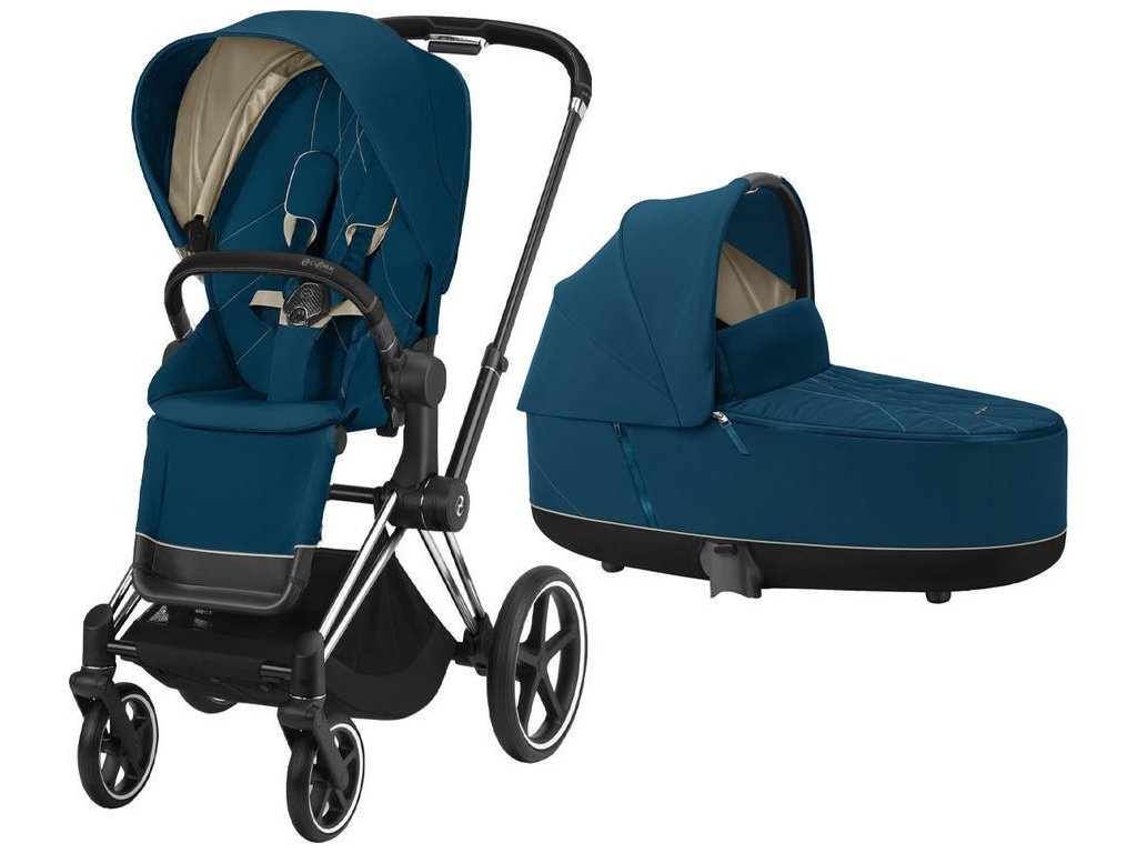 Kočárek CYBEX Priam Chrome Black Seat Pack 2021 včetně korby - Mountain Blue