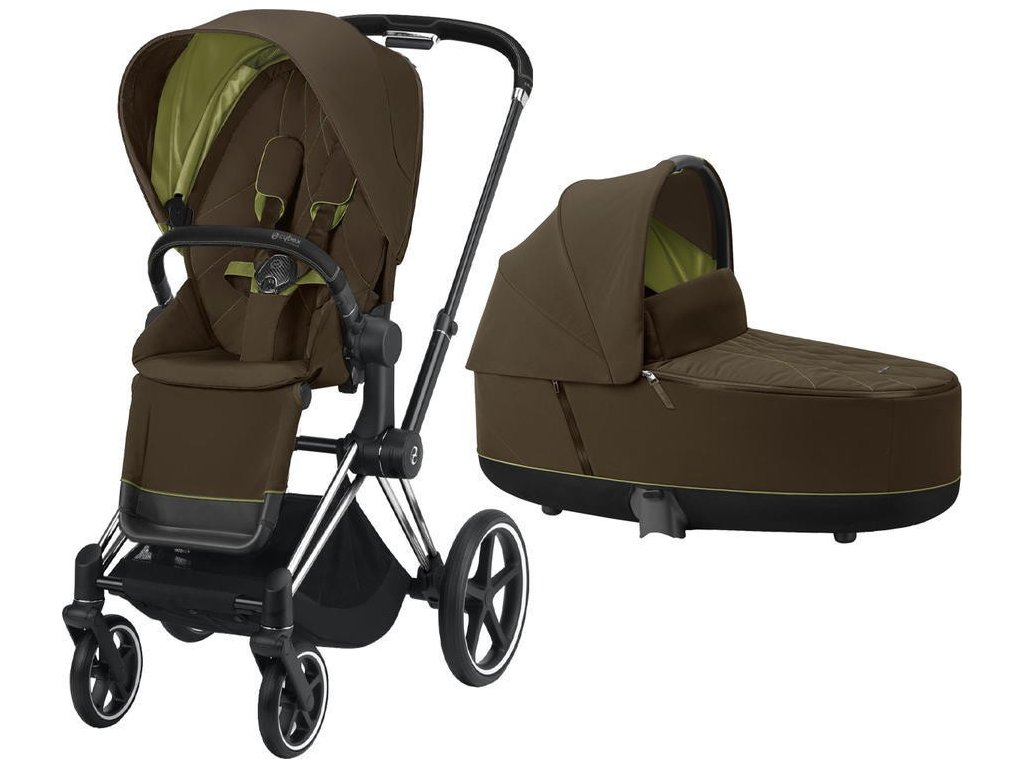 Kočárek CYBEX Priam Chrome Black Seat Pack 2021 včetně korby - Khaki Green
