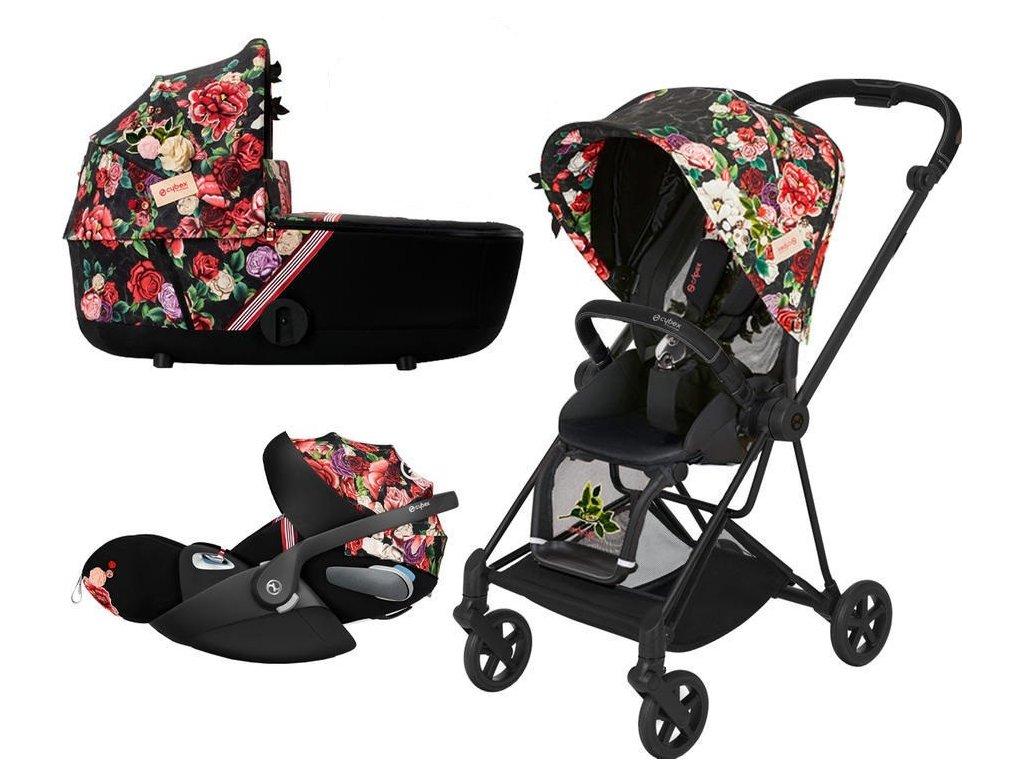 Kočárek CYBEX Set Mios Seat Pack Fashion Spring Blossom 2021 včetně autosedačky, podvozek Mios Black - Dark