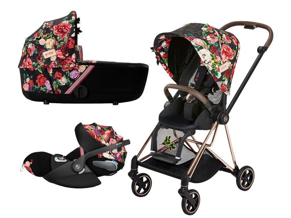 Kočárek CYBEX Set Mios Seat Pack Fashion Spring Blossom 2021 včetně autosedačky, podvozek Mios Rosegold - Dark