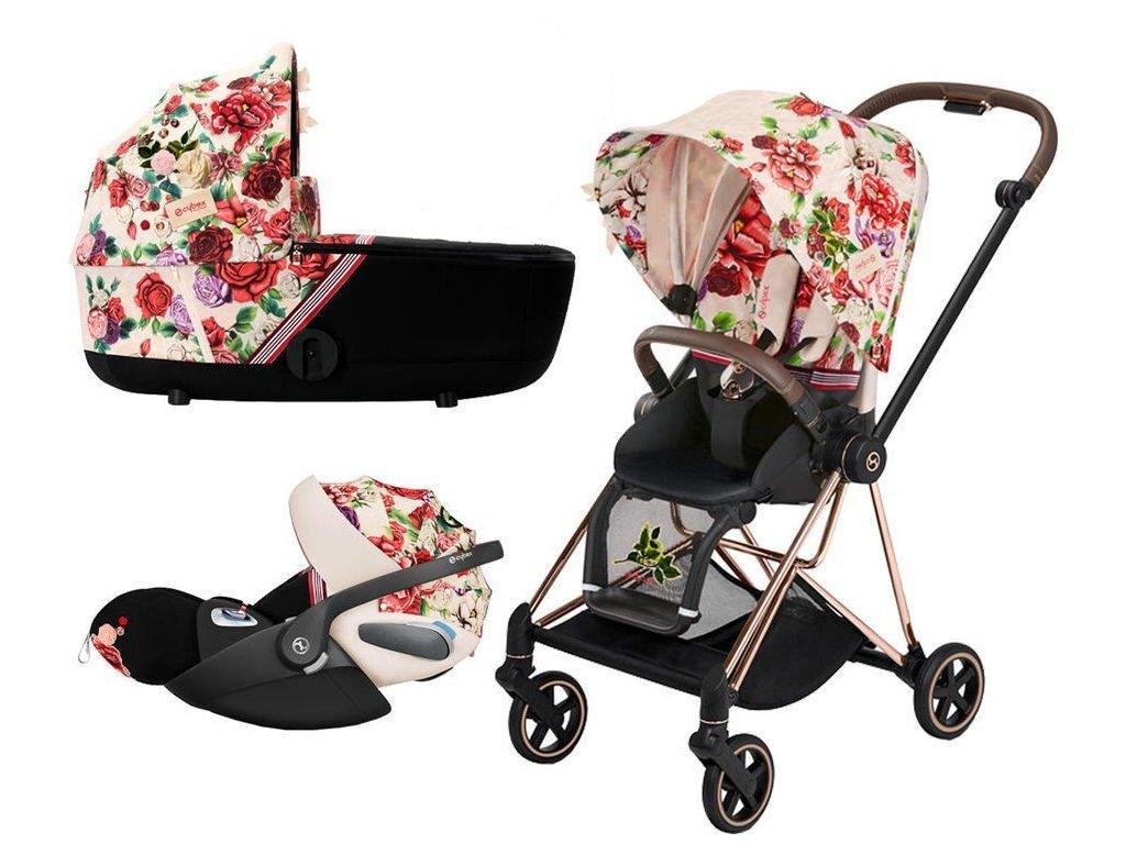 Kočárek CYBEX Set Mios Seat Pack Fashion Spring Blossom 2021 včetně autosedačky, podvozek Mios Rosegold - Light