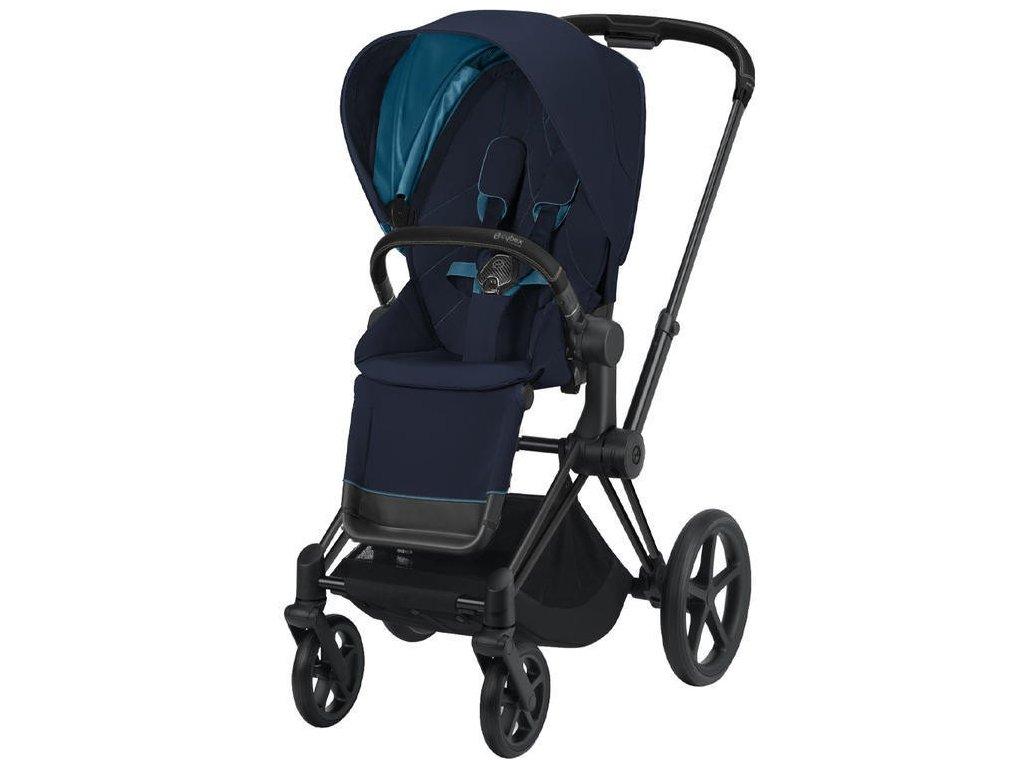 Kočárek CYBEX Priam Matt Black Seat Pack 2021 - Nautical Blue