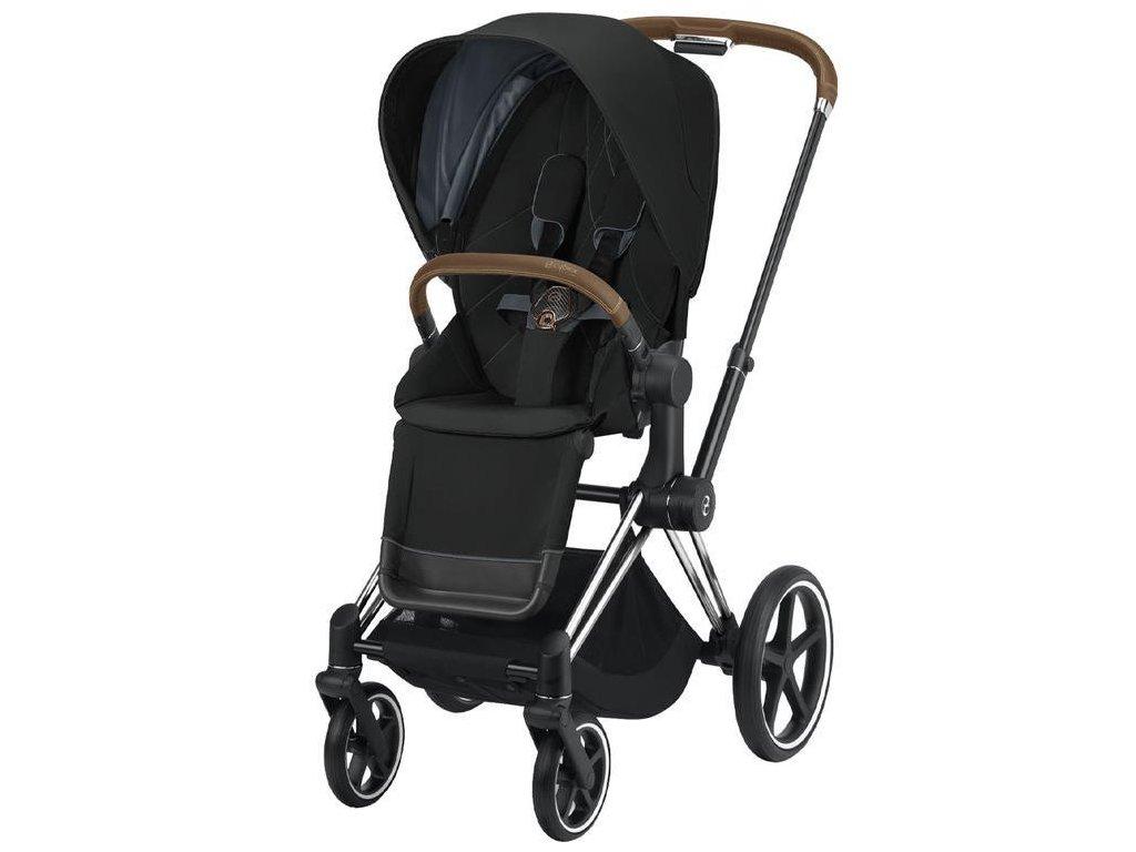 Kočárek CYBEX Priam Chrome Brown Seat Pack 2021 - Deep Black