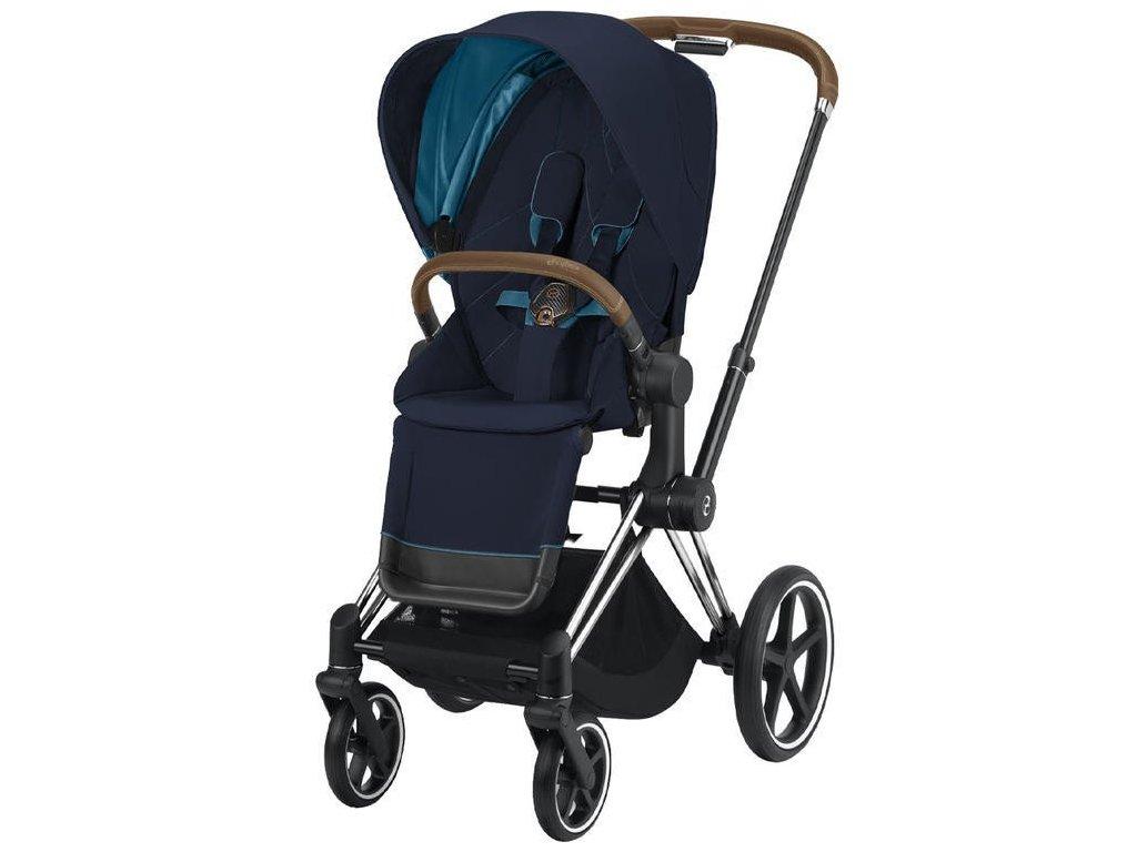 Kočárek CYBEX Priam Chrome Brown Seat Pack 2021 - Nautical Blue
