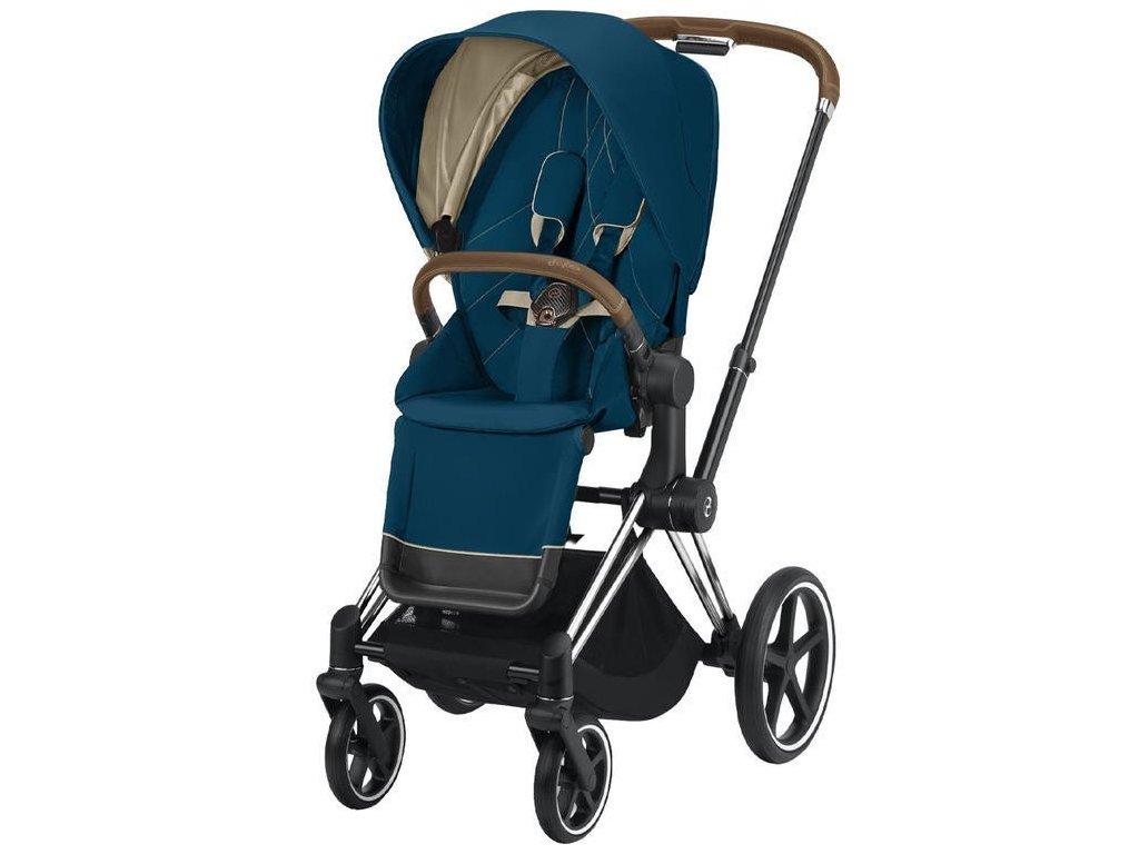 Kočárek CYBEX Priam Chrome Brown Seat Pack 2021 - Mountain Blue