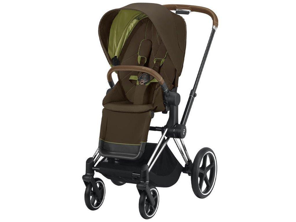 Kočárek CYBEX Priam Chrome Brown Seat Pack 2021 - Khaki Green