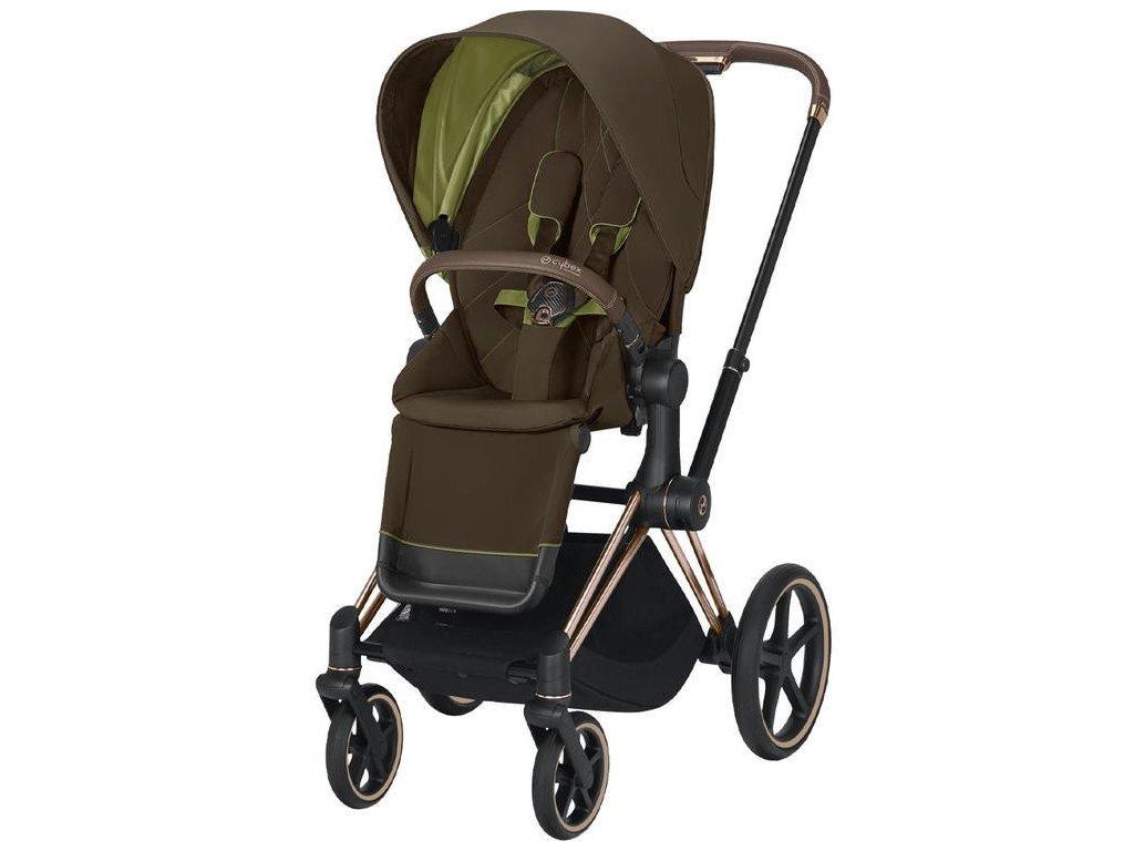 Kočárek CYBEX Priam Rosegold Seat Pack 2021 - Khaki Green