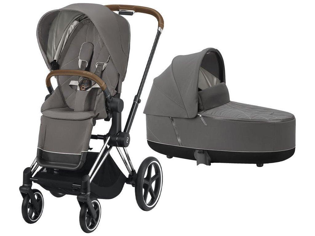 Kočárek CYBEX Priam Chrome Brown Seat Pack 2021 včetně korby - Soho Grey