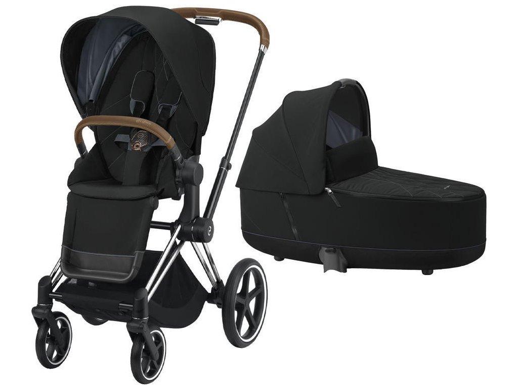 Kočárek CYBEX Priam Chrome Brown Seat Pack 2021 včetně korby - Deep Black
