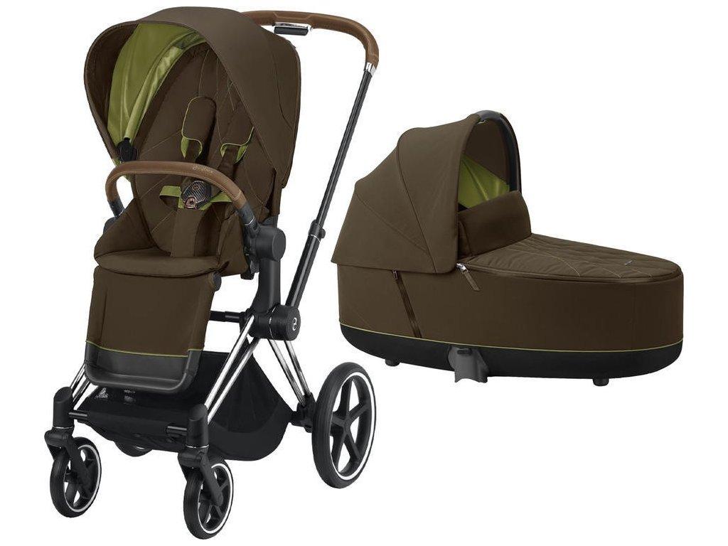 Kočárek CYBEX Priam Chrome Brown Seat Pack 2021 včetně korby - Khaki Green