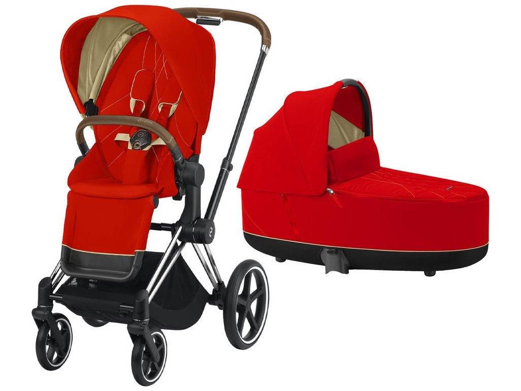 Kočárek CYBEX Priam Chrome Brown Seat Pack 2021 včetně korby - Autumn Gold