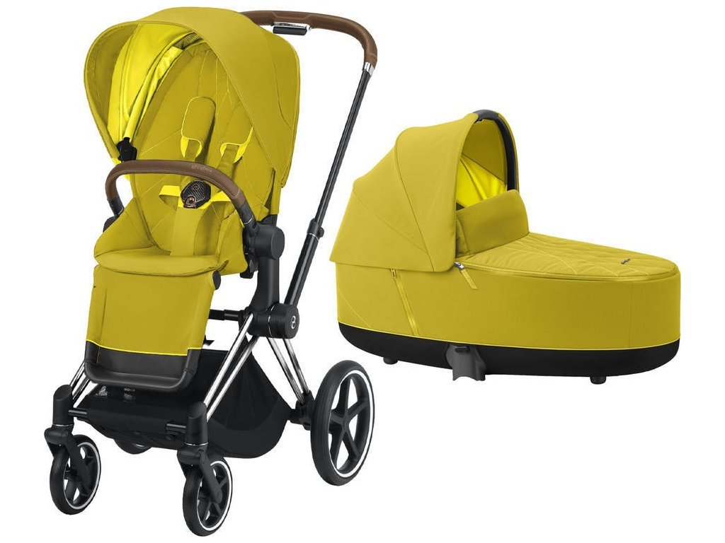 Kočárek CYBEX Priam Chrome Brown Seat Pack 2021 včetně korby - Mustard Yellow