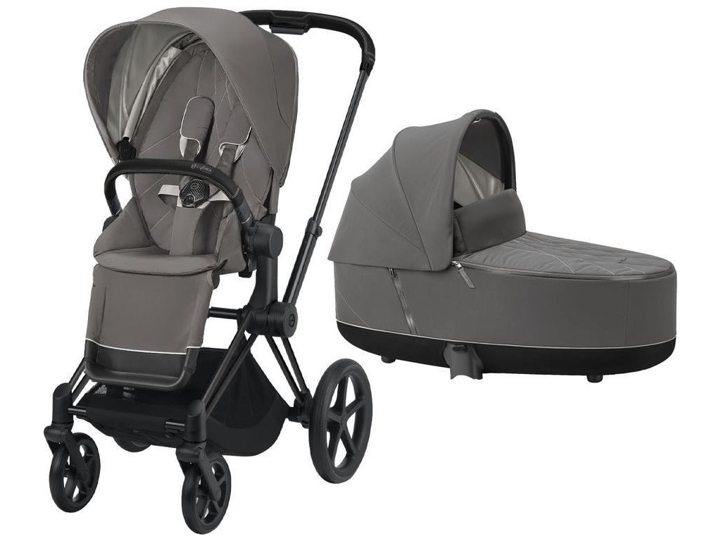 Kočárek CYBEX Priam Matt Black Seat Pack 2021 včetně korby - Soho Grey