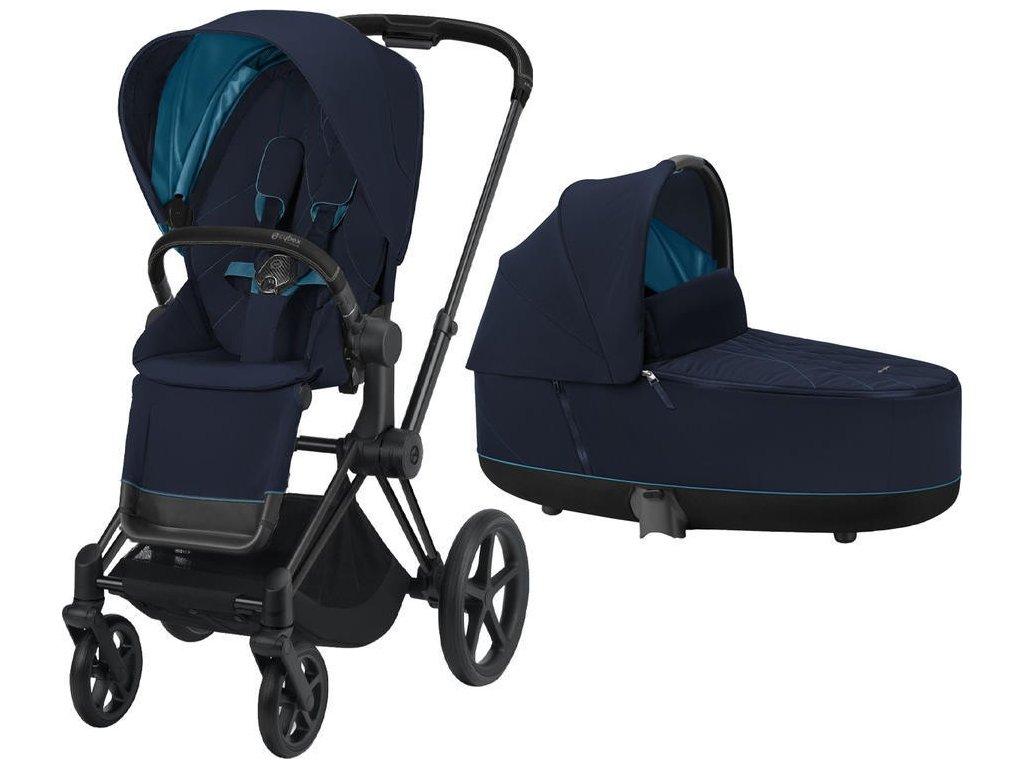 Kočárek CYBEX Priam Matt Black Seat Pack 2021 včetně korby - Nautical Blue