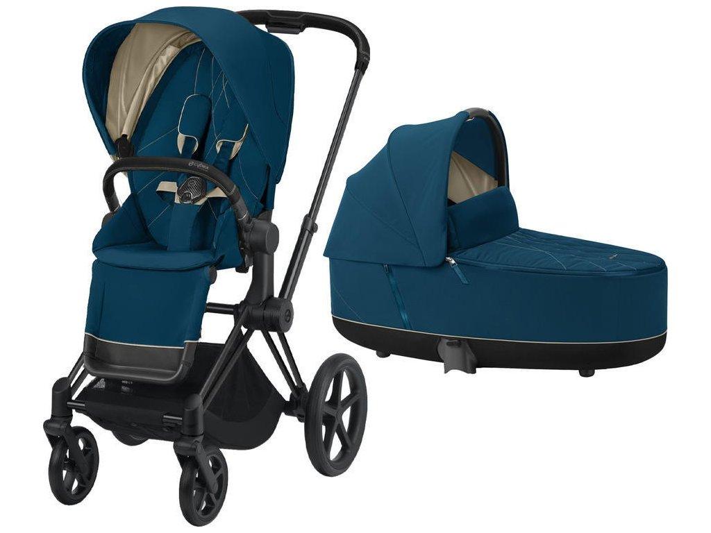Kočárek CYBEX Priam Matt Black Seat Pack 2021 včetně korby - Mountain Blue