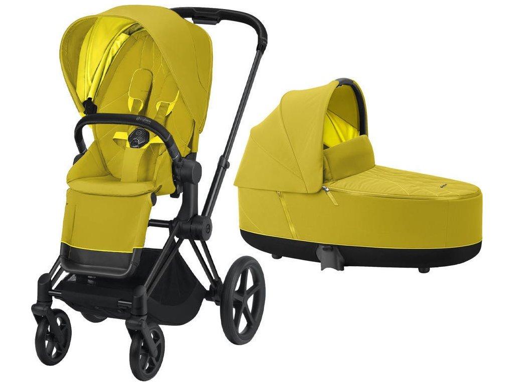 Kočárek CYBEX Priam Matt Black Seat Pack 2021 včetně korby - Mustard Yellow