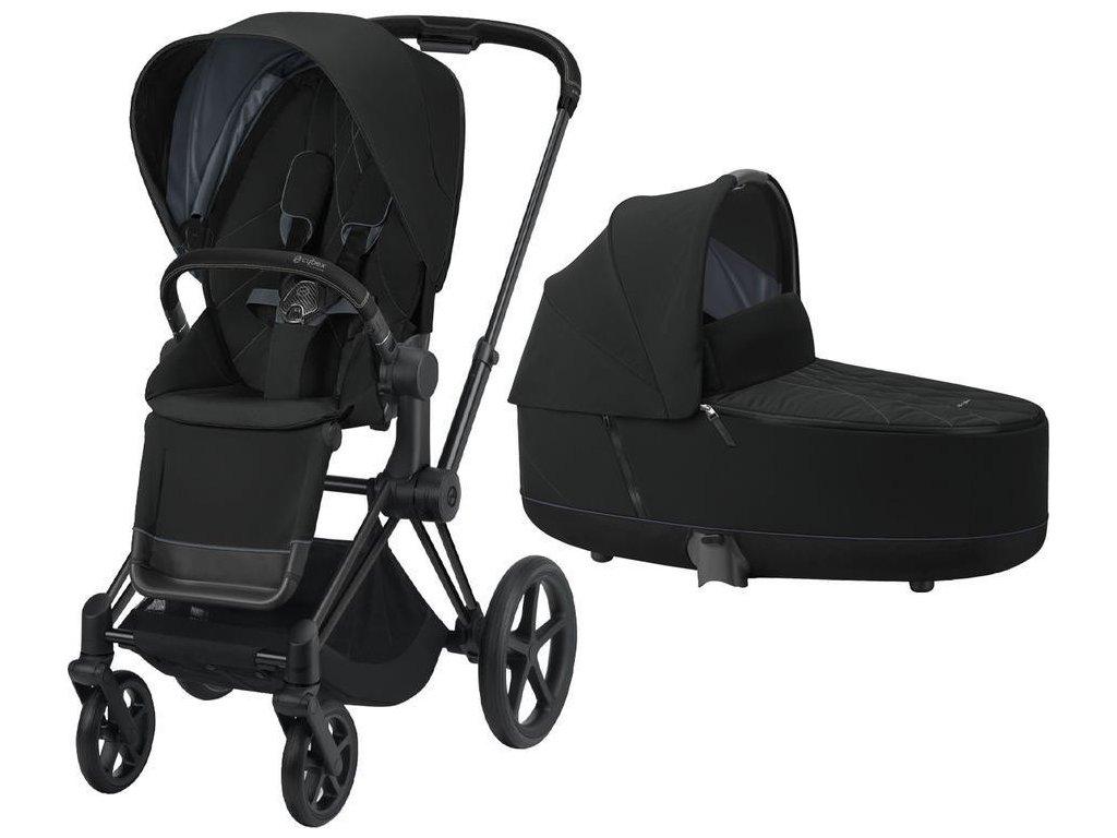 Kočárek CYBEX Priam Matt Black Seat Pack 2021 včetně korby - Deep Black