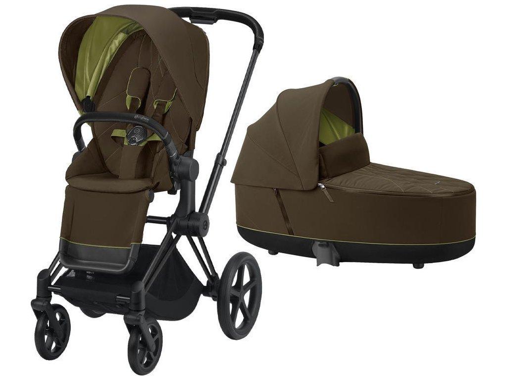 Kočárek CYBEX Priam Matt Black Seat Pack 2021 včetně korby - Khaki Green